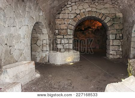 The Interior  Of The Necropolis In The Bet She'arim National Park In The Kiriyat Tivon City In Israe