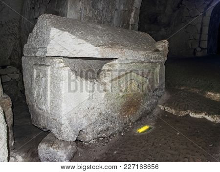 Sarcophagus  In The Inner Room Of The Necropolis In The Bet She'arim National Park In The Kiriyat Ti