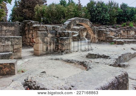 The Ruins  Of The Synagogue Near Necropolis In The Bet She'arim National Park. Kiriyat Tivon City In