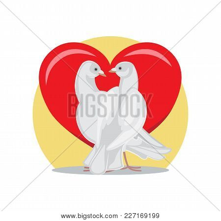 Doves Looking At Each Other With Passion On Background Of Red Heart, Symbols Of Eternal Love, White