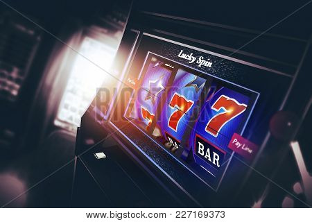 Casino Slot Machine 3d Rendered Illustration. Lucky Triple Seven Spin. Las Vegas Style One Handed Ba