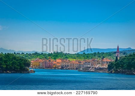 Seafront View At Ancient Roman Town Starigrad On Island Hvar, Summer Landscape Scenery.