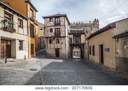Segovia,spain-november 20,2012: Street With Typical Houses In Segovia, Castilla-leon,spain.