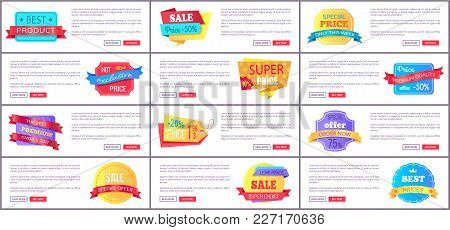 Set Sale Special Offer Order Now Web Poster With Push Buttons Read More And Buy Now. Vector Illustra