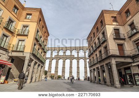 Segovia,spain-november 20,2012: City View, Historic Center With Aqueduct, Roman Construction, Acuedu