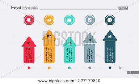 Five Arrows Process Chart Slide Template. Business Data. Target, Diagram, Design. Creative Concept F
