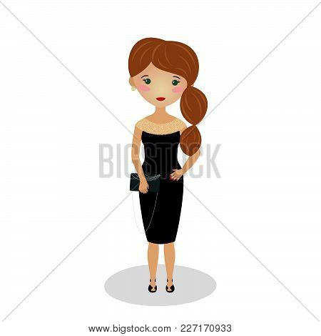 Young Girl Wearing An Elegant Midi. Evening Outfit. Sleeveless Bateau Neck Knee Length Gown. Illustr