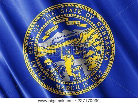 Us State Nebraska Textured Proud Country Waving Flag Close