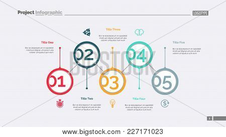 Five Aspects Of Business Slide Template. Business Data. Graph, Diagram. Creative Concept For Infogra