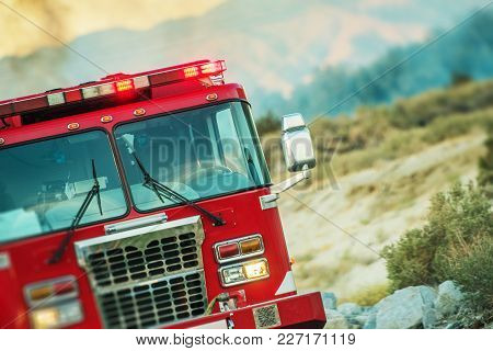 Fire Truck Rescue Operation. Firefighting Theme. California, United States.