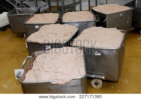 Minced And Chopped Meat For Pate And Sausages At Meat Factory, Meat Processing Facilities