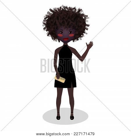 Smiling Girl Wearing An Elegant Mini. Evening Outfit. Afro American Woman. Illustration. Classic Lit