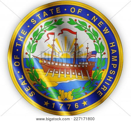 Us State New Hampshire Seal Textured Proud Country Waving Flag Close