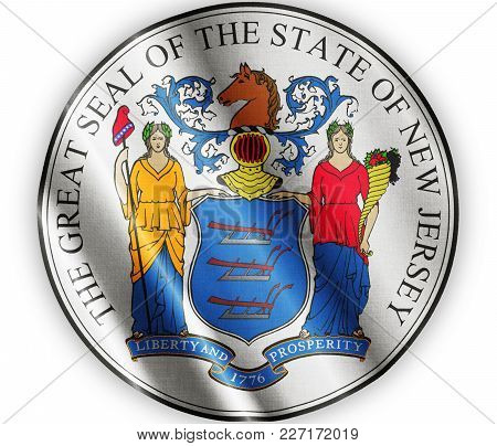 Us State New Jersey Seal Textured Proud Country Waving Flag Close