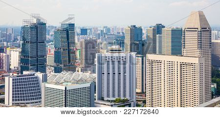 Modern Skyscrapers And Skyline Of Singapore Cityscape