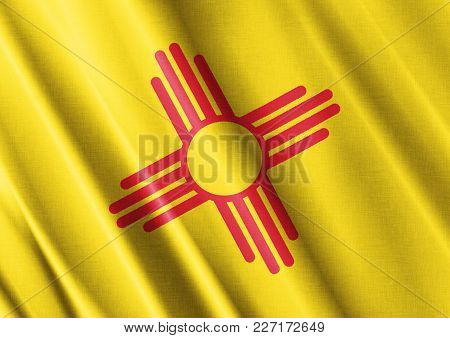Us State New Mexico Textured Proud Country Waving Flag Close