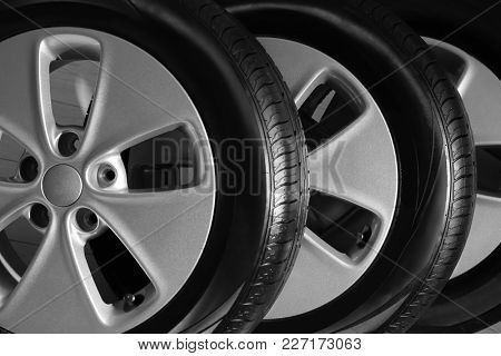 Car tires with rims, closeup