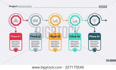 Five Options Process Chart Slide Template. Business Data. Workflow, Diagram, Design. Creative Concep
