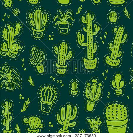 Vector Seamless Pattern With Hand Drawn Cactus Elements Isolated On Dark Background. Floral Desert O