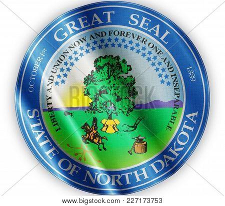 Us State North Dakota Seal Textured Proud Country Waving Flag Close