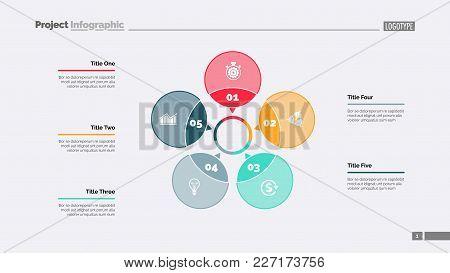 Five Petals Process Chart Slide Template. Business Data. Option, Diagram, Design. Creative Concept F