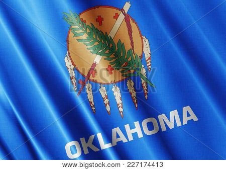 Us State Oklahoma Textured Proud Country Waving Flag Close