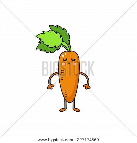 Carrot Vector Doodle Icon. Cute Orange Vegetable Personage.