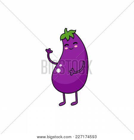 Eggplant Vector Doodle Icon. Cute Purple Vegetable Personage.