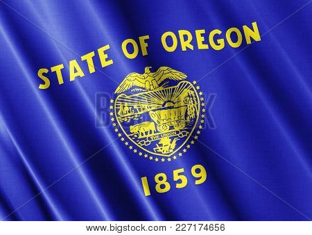Us State Oregon Textured Proud Country Waving Flag Close