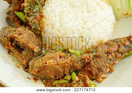 Spicy Stir Fried Crispy Catfish Curry With Rice On Plate