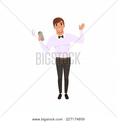 Smiling Bartender Shaking Alcohol Cocktail In Shaker, Barman Character At Work Cartoon Vector Illust