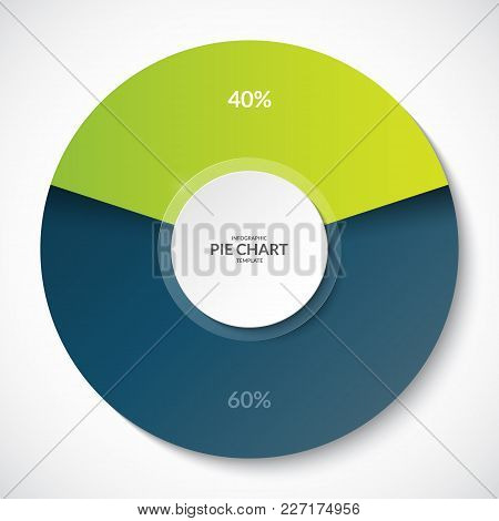 Pie Chart. Share Of 40 And 60 Percent. Can Be Used For Business Infographics.