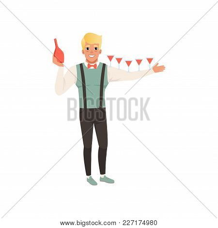Cheerful Bartender Pouring Alcoholic Cocktails, Barman Show Cartoon Vector Illustration Isolated On