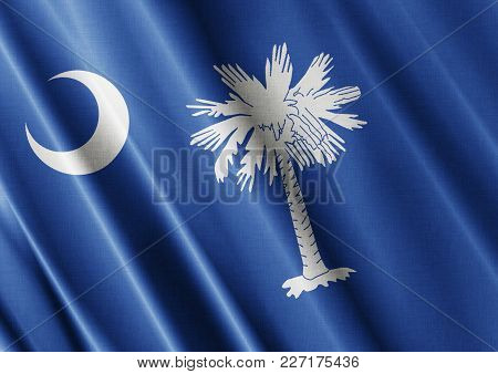 Us State South Carolina Textured Proud Country Waving Flag Close