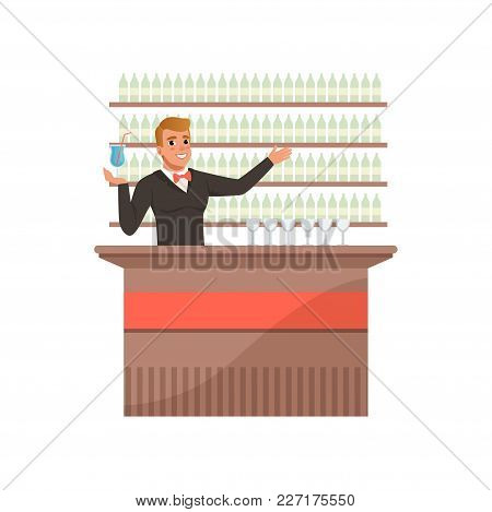 Cheerful Bartender At The Bar Counter With Arm Out In A Welcoming Gesture, Barman Character At Work