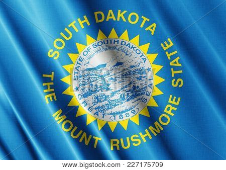 Us State South Dakota Textured Proud Country Waving Flag Close