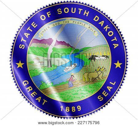 Us State South Dakota Seal Textured Proud Country Waving Flag Close