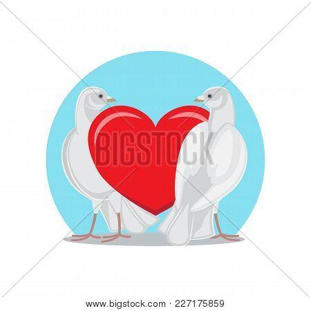 Two Doves Standing Near Red Heart, Symbols Of Eternal Love, White Pigeons Isolated Vector Illustrati