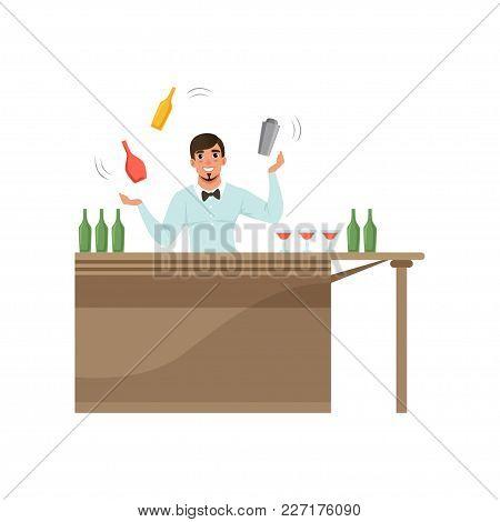 Cheerful Bartender Juggling Colorful Bottles Standing Behind The Bar Counter, Barman Character At Wo