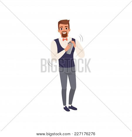 Smiling Bartender Mixing A Cocktail Drink In Shaker, Barman Character At Work Cartoon Vector Illustr