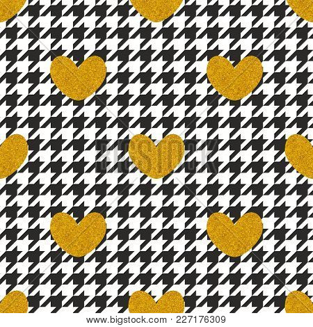 Tile Vector Pattern With Golden Hearts And Black And White Houndstooth Background