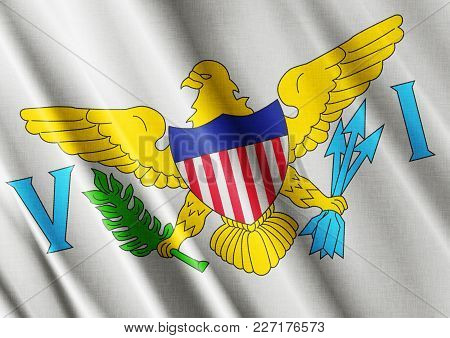 Us State Virgin Islands Textured Proud Country Waving Flag Close