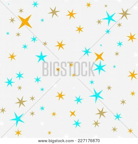 Star Seamless Pattern. Star Sky Seamless Vector Pattern. Colorful Stars Seamelss