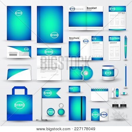 Corporate Identity Template Set. Business Stationery Mock-up With Bright Blue Blurred Background And