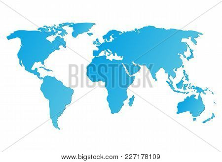 Blue World Map Isolated On White Background, Flat Style