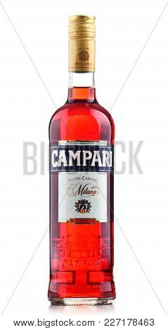 Poznan, Poland - Feb 14, 2018: Bottle Of Campari, An Alcoholic Liqueur Containing Herbs And Fruit (i
