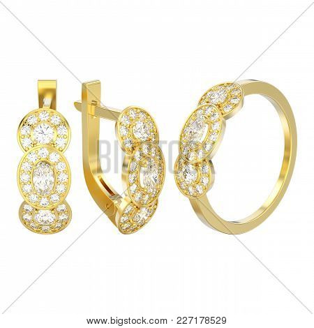 3d Illustration Isolated Set Of Yellow Gold Decorative Diamond Earrings With Hinged Lock And Three S