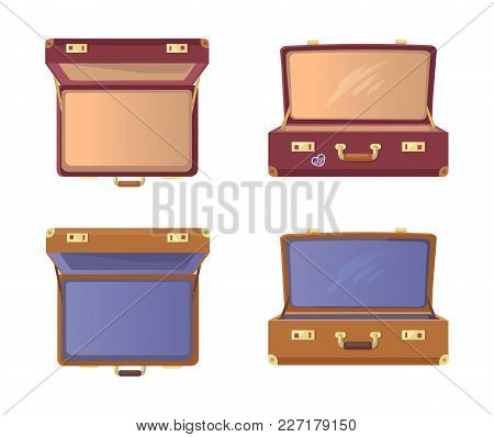 Set Of Open Suitcases With Britain Flag Vector Illustration Posters Isolated On White Background. Vi