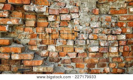 Very Old Brick Wall. Old Collapsing Brick Wall. Old Building. Old Brick Wall Texture Background