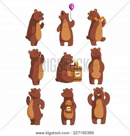Cartoon Set With Funny Brown Bear. Forest Animal Character Waving By Paw, Holding Balloon, Dancing,